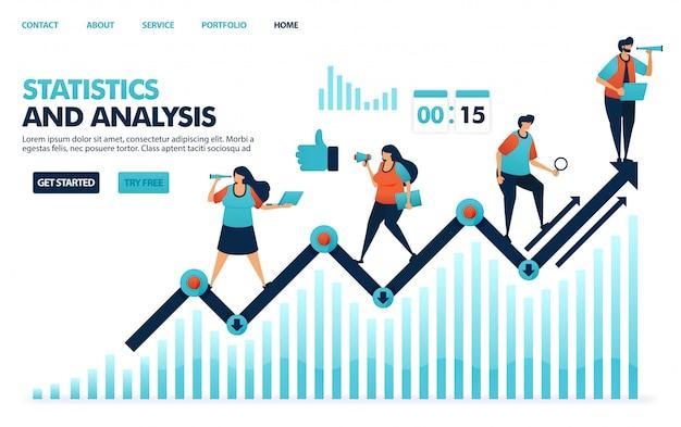 Esame di statistiche annuali sulle prestazioni aziendali, strategie di pianificazione dell'analisi e idea per le aziende.