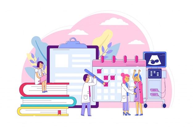 Esame donne in gravidanza, consultazione con illustrazione al tratto ostetrico specialista. mantenere il calendario della gravidanza medica
