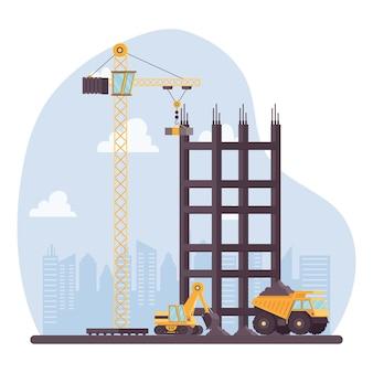 Escavatore edile della costruzione e discarica con progettazione dell'illustrazione di vettore dei veicoli della gru
