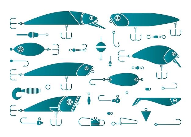 Esche da pesca un set di icone gancio
