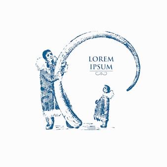 Eschimese con corno mammut, ossa di elefante preistorico, concetto nord illustrazione di nativi dell'alaska umana, disegnati a mano o incisi vintage