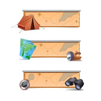 Escursionismo banner orizzontale insieme