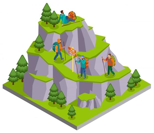 Escursionismo composizione isometrica con immagine panoramica montagna selvaggia con sentieri e personaggi umani di camper