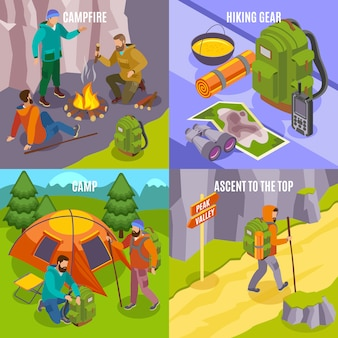 Escursionismo concetto isometrico con composizioni di immagini di attrezzi da trekking e persone che camminano nei campi