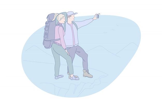 Escursionismo, montagna, online, turismo, viaggi, illustrazione