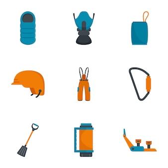 Escursionismo set di icone di montagna. set piatto di 9 icone vettoriali di escursionismo montagna