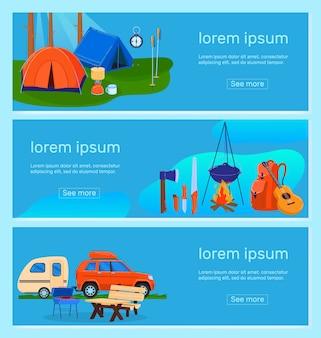 Escursionismo, set di illustrazione vettoriale campo turistico. raccolta di banner piatto turismo all'aperto del fumetto con tende da campeggio per escursionisti nei boschi della natura