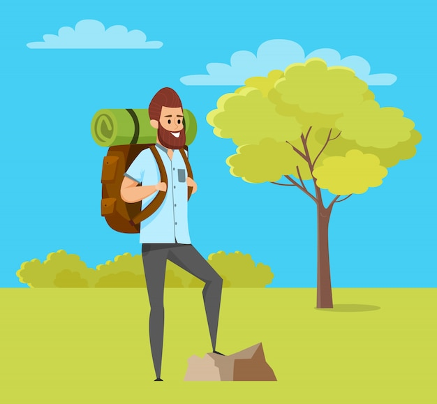 Escursionismo uomo, natura verde, hobby di viaggio