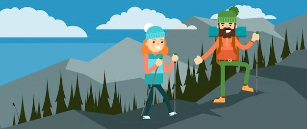 Escursionisti che camminano all'aperto.