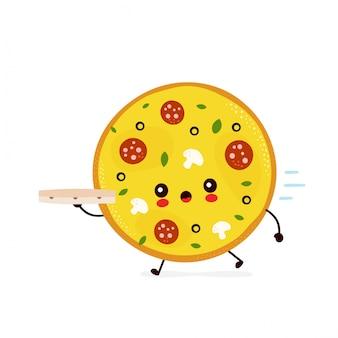 Esecuzione di consegna della pizza carina.