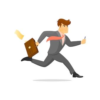 Esecuzione di uomo d'affari con carattere valigia