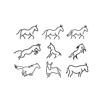 Esecuzione modello di icona di vettore di logo di contorno di arte linea cavallo modello