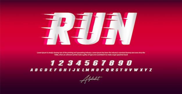 Esegui font, alfabeto e numeri di stile,