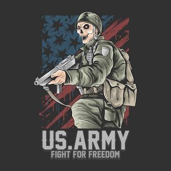 Esercito degli stati uniti. soldato degli stati uniti con il vettore dell'arma