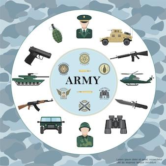 Esercito piatto composizione rotonda con ufficiale soldato corazzato auto carro armato elicottero arma binocolo granata distintivi militari su camuffamento