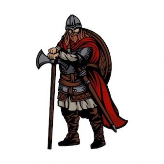 Esercito vichingo che indossa asce e scudo