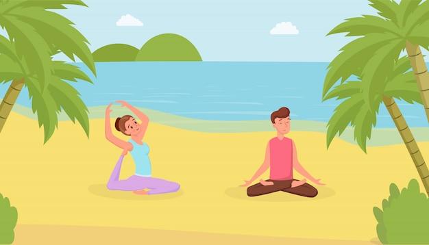 Esercizi di yoga sulla spiaggia