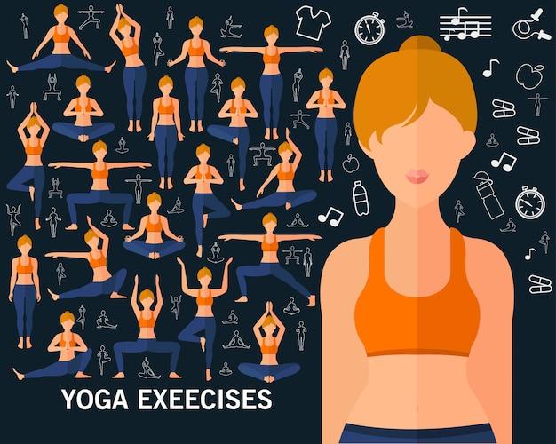 Esercizi di yoga sullo sfondo del concetto. icone piatte.