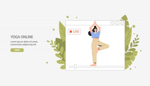 Esercizi, sport, fitness domestico, trasmissione di yoga online in diretta.