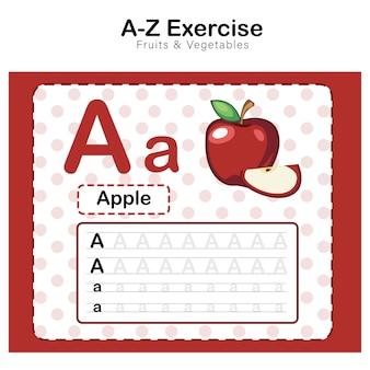Esercizio di alfabeto a. con l'illustrazione di vocabolario del fumetto della mela