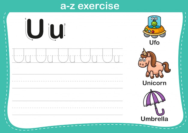Esercizio di az di alfabeto con l'illustrazione di vocabolario del fumetto