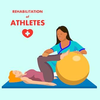 Esercizio di fisioterapia su poster pubblicitario fitball
