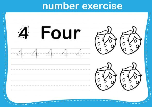 Esercizio di numero con l'illustrazione del libro da colorare del fumetto