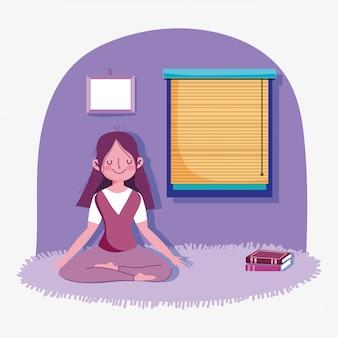 Esercizio di sport di attività di yoga di posa di meditazione della ragazza a casa
