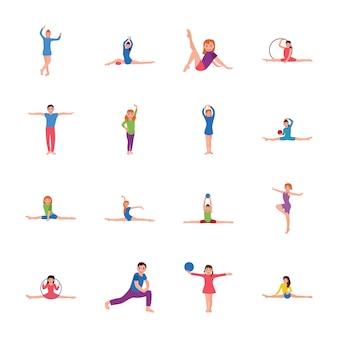 Esercizio per bambini e pacchetto di icone piane relative alla ginnastica
