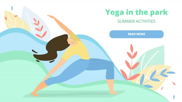 Esercizio per le donne yoga nella pagina di atterraggio del parco