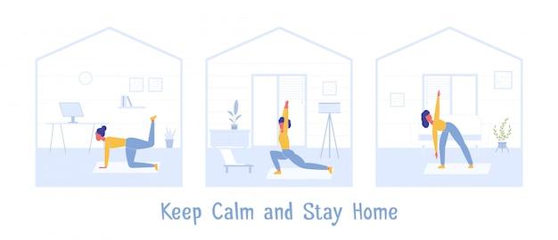 Esercizio sportivo a casa. mantieni la calma durante la quarantena