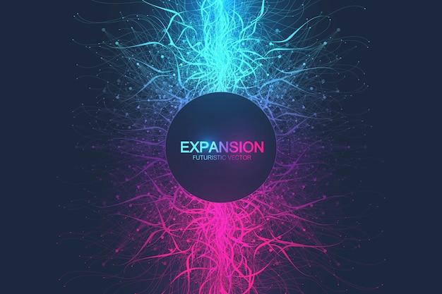 Espansione astratta geometrica della vita. sfondo colorato esplosione con linea e punti collegati, flusso d'onda. esplosione di sfondo grafico, movimento scoppiato. illustrazione scientifica.