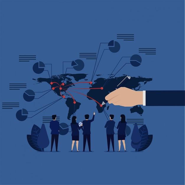 Espansione del business il team aziendale vede la mappa del mondo per calcolare il profitto finanziario.