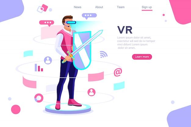 Esperienza virtuale visualizza la landing page del cyberspace