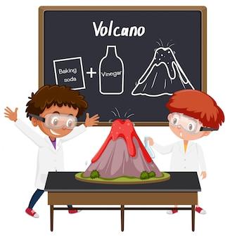 Esperimento di scienza del vulcano studentesco