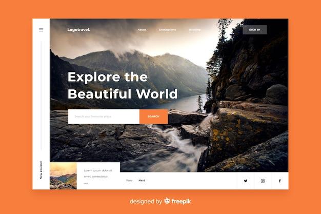 Esplora il modello della pagina di destinazione dei viaggi nel mondo