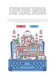 Esplora il sito web dell'india con la valigia aperta