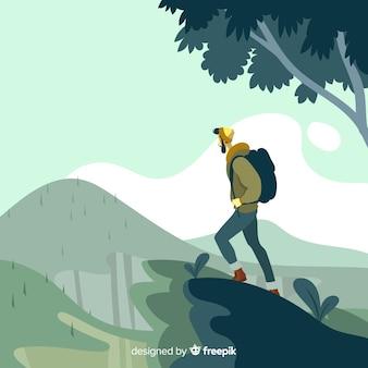 Esploratore disegnato a mano con sfondo di zaino