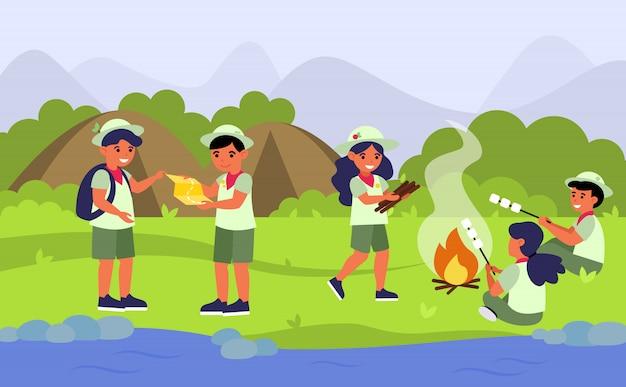 Esploratori nell'illustrazione piana di campeggio di vettore