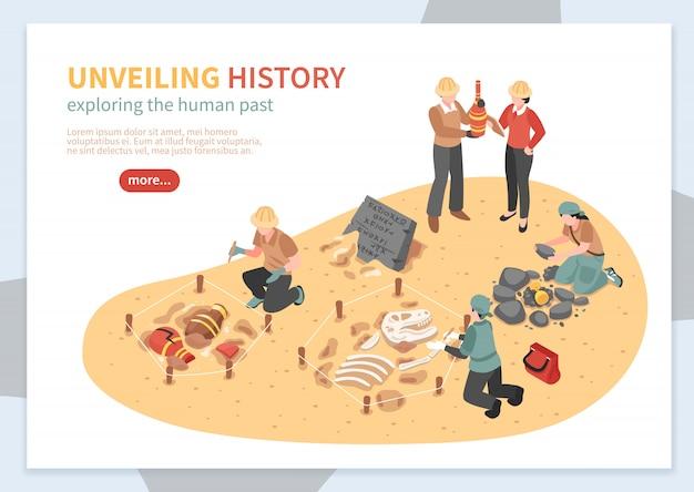 Esplorazione archeologica del concetto isometrico dei manufatti storici dell'illustrazione di vettore dell'insegna di web