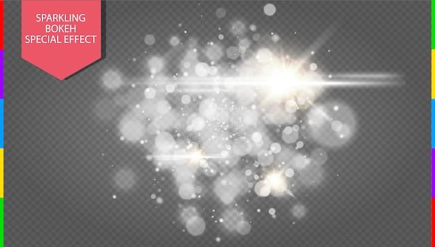 Esplosione bianca astratta di effetto del bokeh con progettazione moderna delle scintille.