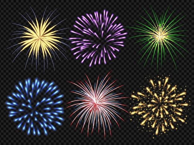 Esplosione di fuochi d'artificio. festa di compleanno big bang festosa scintillante collezione di fuochi d'artificio realistico