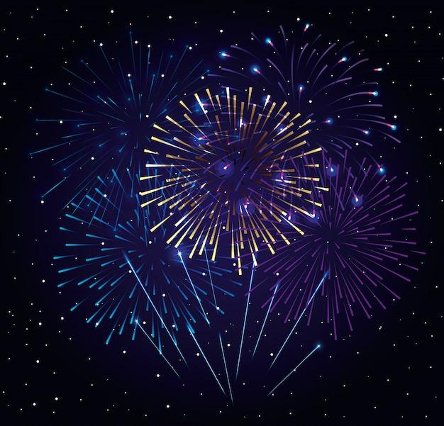 Esplosione di fuochi d'artificio sul cielo scuro di notte, celebrazione di nuovo anno