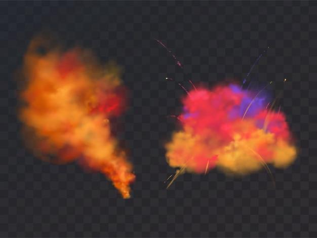 Esplosione di polvere di vernice realistico 3d su sfondo trasparente. simbolo del festival di holi