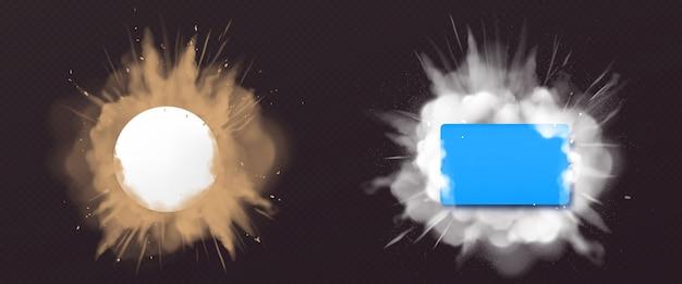 Esplosione di polvere e polvere con banner