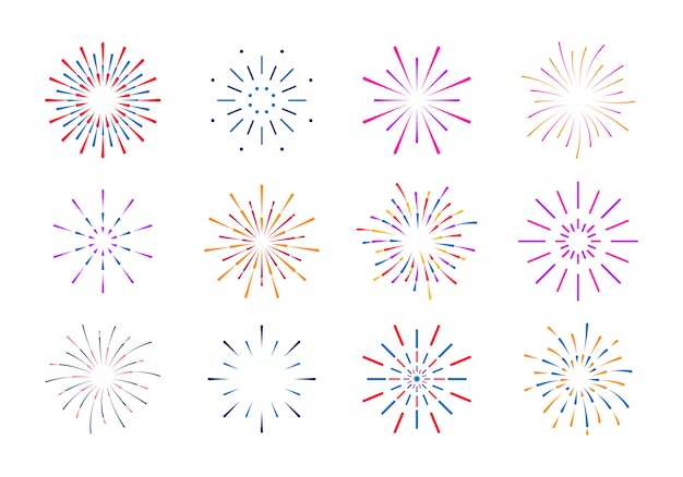 Esplosione di raggi alba fuochi d'artificio starburst scoppiare