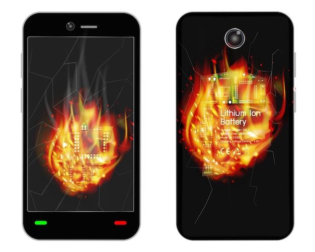 Esplosione di smartphone rotto con fuoco ardente