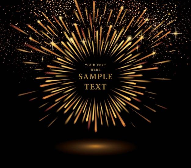 Esplosione dorata astratta, effetto di scoppio dell'oro, luce delle stelle in movimento