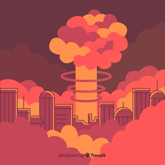 Esplosione nucleare in stile cartone animato della città