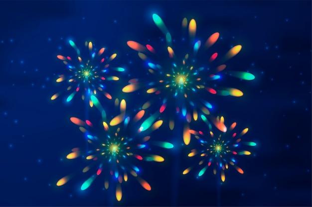 Esplosione realistica. fuochi d'artificio. flash luminoso.